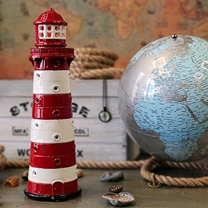 Hand made ceramic lighthouse candle holder - Liepaja Latvia