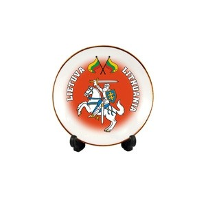 Porcelain plate with magnet Lithuania - Vytis