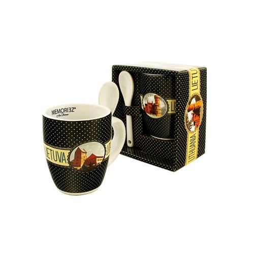 Espresso suvenyrinis puodelis Lietuva su šaukšteliu 175ml Trakai / Raudonė