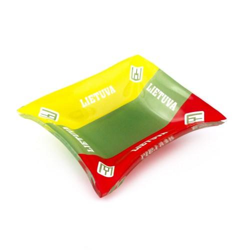 Stiklinė spalvota lėkštutė Lietuva geltona-žalia-raudona