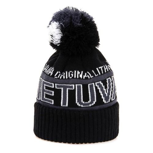 Trumpa žieminė kepurė LIETUVA - Robin Ruth Juoda