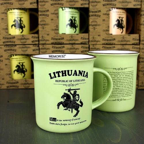 Žalios spalvos suvenyrinis puodelis Lietuva - Vytis su istorija 280ml