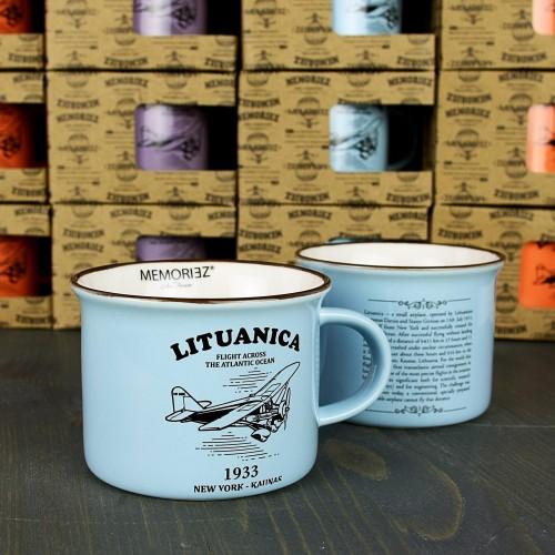 Mažas mėlynos spalvos suvenyrinis puodelis Lituanica su skrydžio istorija 150ml