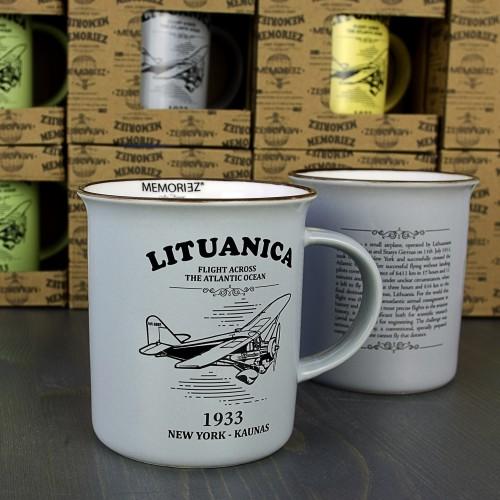 Lituanica pilkos spalvos suvenyrinis puodelis su istorija 280ml