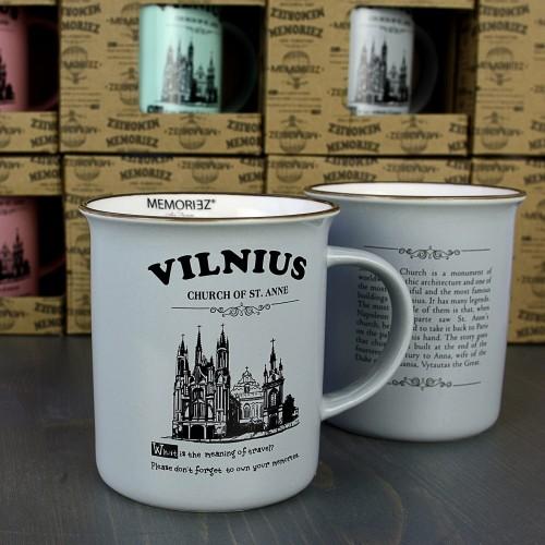 Vilnius, pilkos spalvos suvenyrinis puodelis su istorija 280ml