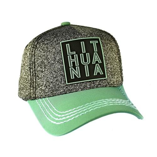 Pilka kanapėta kepurė su žalsvu snapeliu Lithuania