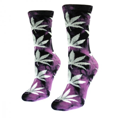 Violetinės moteriškos kojinės su kanapėmis