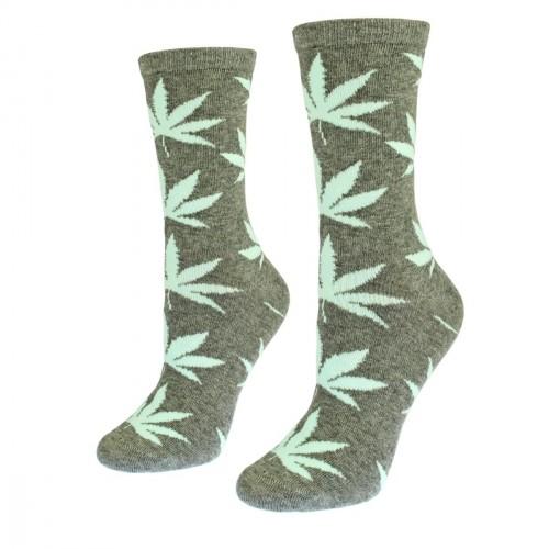 Moteriškos pilkos kojinės su kanapėmis