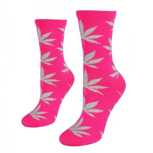Rožinės moteriškos kojinės su kanapių lapais, dydis: (36-42)
