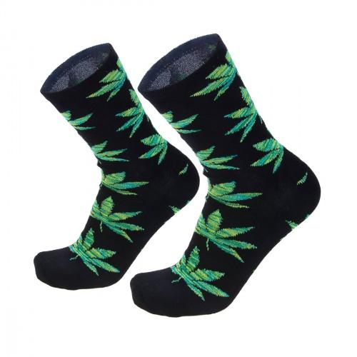 Vyriškos kojinės su žaliais kanapių lapais