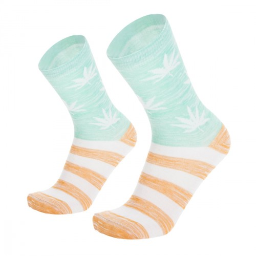 Žalios vyriškos kojinės su kanapių lapais, dydis: (40-45)
