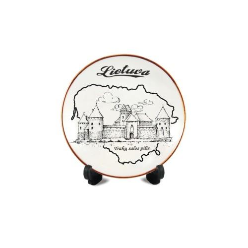 Porcelianinė lėkštutė su magnetu Lietuva - Trakų salos pilis
