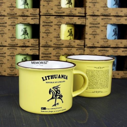 Mažas gelsvos spalvos suvenyrinis puodelis Lietuva - Vytis su istorija 150ml
