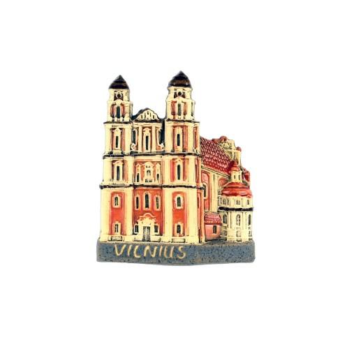 Rankų darbo keramikinis magnetas Šv. Kotrynos bažnyčia