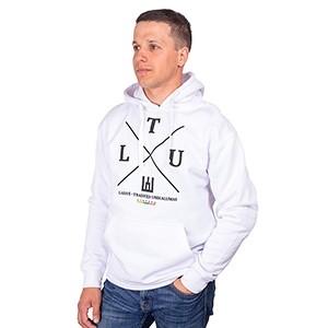 Baltas klasikinis džemperis suaugusiems su kapišonu LTU