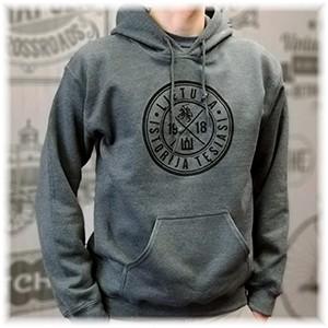 Tamsiai pilkas klasikinis džemperis suaugusiems su kapišonu