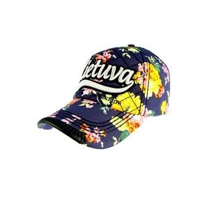 Mėlyna gėlėta kepuraitė su snapeliu Lietuva by Robin Ruth