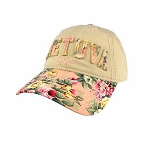 Smėlio spalvos moteriška kepurė nuo saulės su gėlėtu snapeliu ir užrašu Lietuva