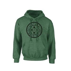 Žalias klasikinis džemperis suaugusiems su kapišonu