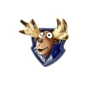 Rankų darbo keramikinis magnetas Briedis Estija mėlynas
