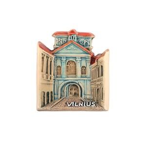 Rankų darbo keramikinis magnetas Vilnius Aušros vartai
