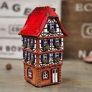 Rankų darbo keramikinis namelis-žvakidė