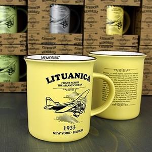 Lituanica geltonos spalvos suvenyrinis puodelis su istorija 280ml