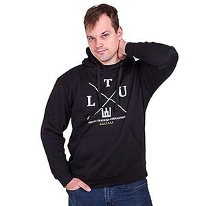 Juodas klasikinis džemperis suaugusiems su kapišonu LTU