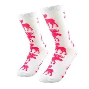 Baltos moteriškos kojinės su rožiniais briedžiais dydis:(36-42)