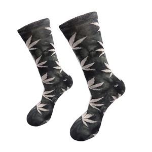 Žalsvos vyriškos kojinės su kanapių lapais, dydis: (40-45)