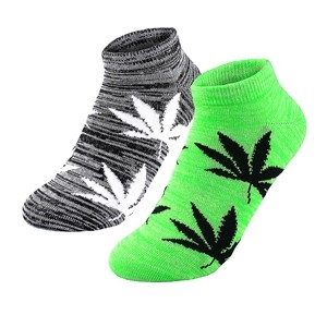Dvi poros moteriškų trumpų kojinių su kanapių lapais Žalios / Pilkos, dydis: (36-42)