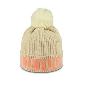Smėlio spalvos švelnaus akrilo juodos spalvos trumpa žieminė kepurė Lietuva