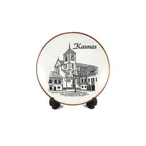Porcelain plate with a magnet Kaunas cathedral