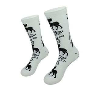 Baltos moteriškos kojinės su briedžiais dydis:(36-42)