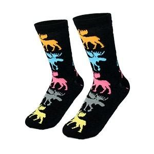 Juodos moteriškos kojinės su spalvotais briedžiais dydis:(36-42)