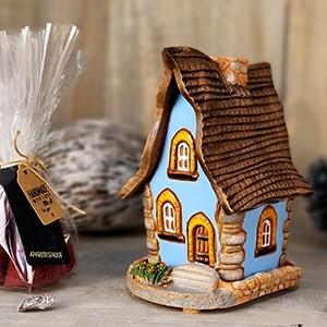 Keramikinis namelis smilkalinė su 10vnt kūginių smilkalų