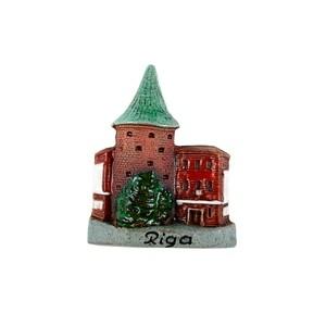 Rankų darbo keramikinis magnetas Parako bokštas, Ryga