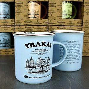 Mėlynos spalvos suvenyrinis puodelis Trakai 280ml