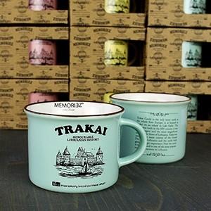Mažas mėtų spalvos suvenyrinis puodelis Trakų salos pilis su istorija 150ml