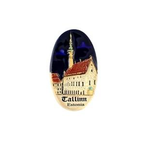 Rankų darbo keramikinis magnetas Rotušė Talinas