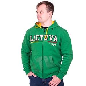 Žalias džemperis su užtrauktuku ir kapišonu