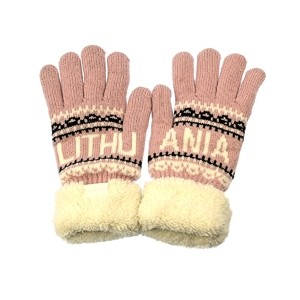 Šiltos žieminės pirštinės su kailiuku