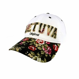 Baltos spalvos moteriška kepurė nuo saulės su gėlėtu snapeliu ir užrašu Lietuva