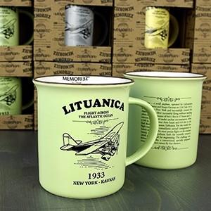 Lituanica žalios spalvos suvenyrinis puodelis su istorija 280ml