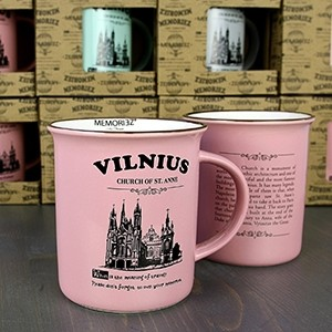 Vilnius, rožinės spalvos suvenyrinis puodelis su istorija 280ml