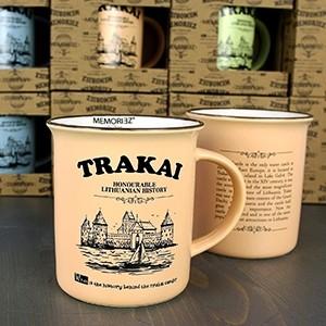Rusvos spalvos suvenyrinis puodelis Trakai 280ml