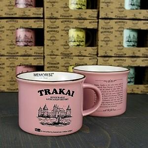 Mažas rožinės spalvos suvenyrinis puodelis Trakų salos pilis su istorija 150ml