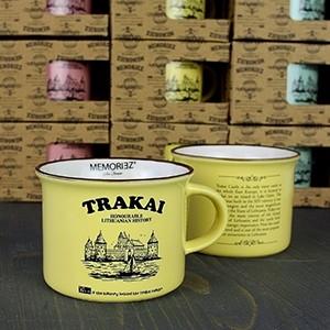 Mažas gelsvos spalvos suvenyrinis puodelis Trakų salos pilis su istorija 150ml
