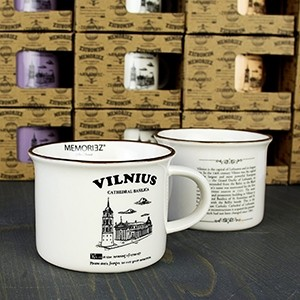 Mažas baltos spalvos suvenyrinis puodelis Vilnius Arkikatedra istorija 150ml
