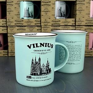 Vilnius, mėtų spalvos suvenyrinis puodelis su istorija 280ml